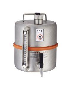 Veiligheidsvat 10 liter met tapkraan, overdrukventiel en peilglas