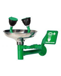 Groene oogdouche voor wandmontage met RVS opvangschaal