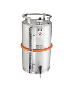 Veiligheidsvat 25 liter met tapkraan, overdrukventiel en peilglas