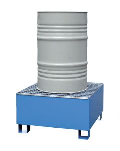 Stalen lekbak voor 1 x 200-litervat met rooster - Bumax