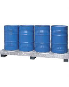 Stalen lekbak voor 4 stalen vaten type CW 4-L van Bumax