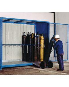 Stalen gasflessenberging met schuifdeuren FCG-E.3.48
