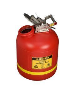Justrite HDPE veiligheidskan 19 liter met RVS sluitwerk