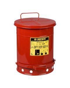 Justrite stalen afvalbak 34 liter met voetbediende deksel