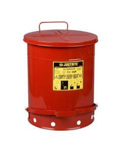 Justrite stalen afvalbak 52 liter met voetbediende deksel