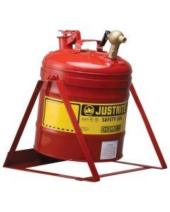 Justrite stalen veiligheidskan 19 liter, Type I met tapkraan L15-4066-A boven en kantel standaard