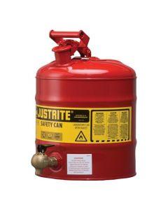Justrite stalen veiligheidskan 19 liter, Type I met tapkraan L15-4066-A onder