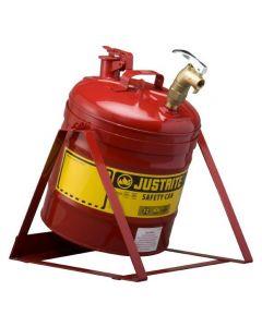 Justrite stalen veiligheidskan 19 liter, Type I met tapkraan L15-4068-A boven en kantel standaard