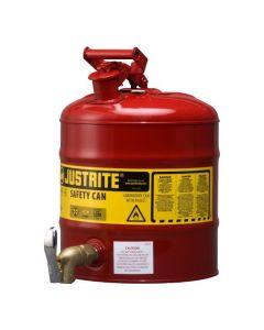 Justrite stalen veiligheidskan 19 liter, Type I met tapkraan L15-4068-A onder