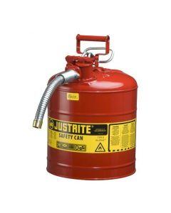 Justrite stalen veiligheidskan 19 liter, Type II - AccuFlow, Safe Squeeze opener