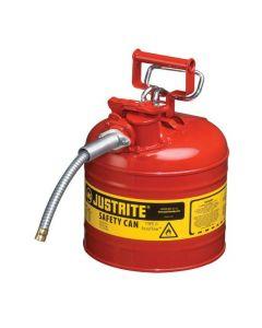 Justrite stalen veiligheidskan 7,5 liter, Type II - AccuFlow, Safe Squeeze opener