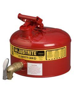 Justrite stalen veiligheidskan 9,5 liter, Type I met tapkraan L15-4068-A onder