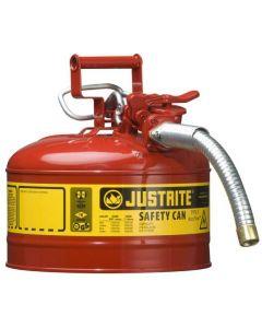 Justrite stalen veiligheidskan 9,5 liter, Type II - AccuFlow, Safe Squeeze opener