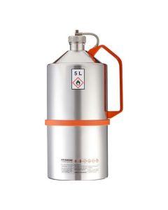 Veiligheidskan in RVS - laboratorium uitvoering - schroefdop - 5 liter inhoud