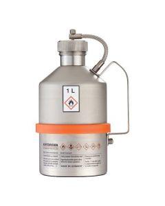 Veiligheidskan in RVS - industriële uitvoering - schroefdop - 1 liter inhoud