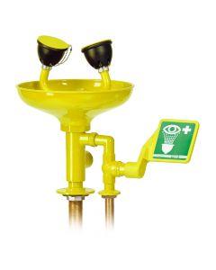 Oogdouche voor bladmontage met opvangschaal in de kleur geel