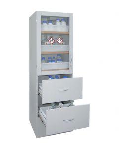 Zuren en logenkast SLS 600 met 6 niveaus en optioneel plexiglas deuren